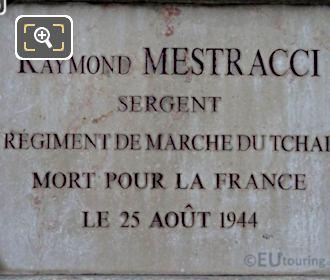World War II Memorial Plaque For Raymond Mestracci