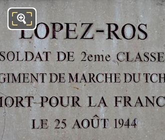 Antonio Lopez-Ros WW II Memorial Plaque Tuileries Gardens