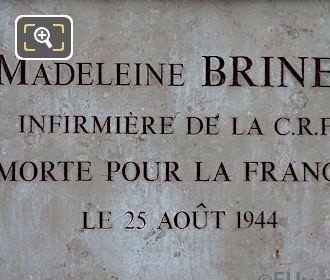 Madeleine Brinet World War II Memorial Plaque