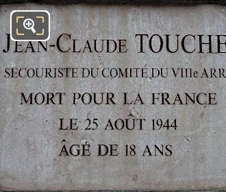 Memorial Plaque Jean-Claude Touche Tuileries Gardens