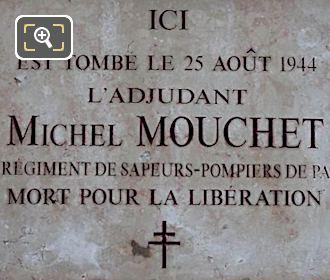 WW II Memorial Plaque Michel Mouchet