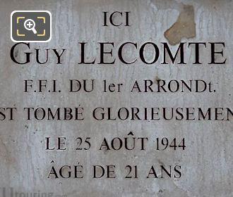 Guy Lecomte WW II Memorial Plaque