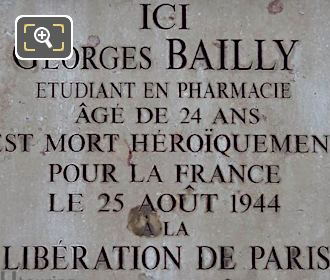 Georges Bailly WW II Plaque Tuileries Gardens