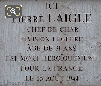 WW II Memorial Plaque Pierre Laigle