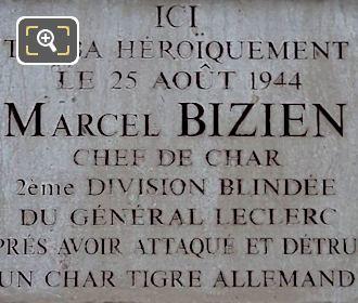 WW II Memorial Plaque Marcel Bizien