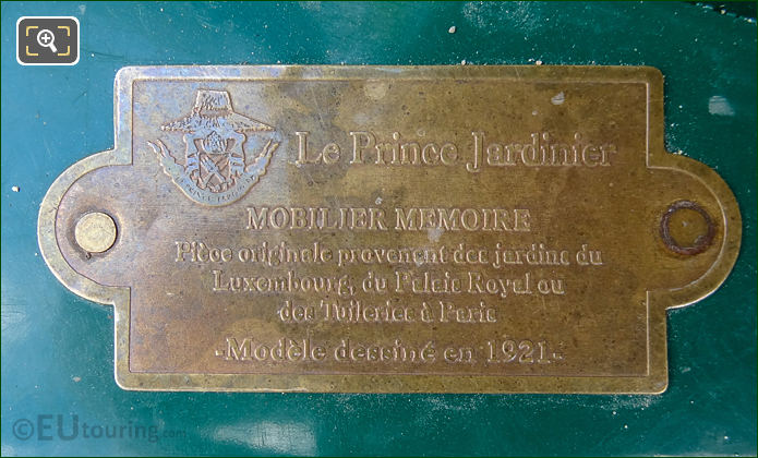 Le Prince Jardinier Bronze Plaque On Les Confidents Chair