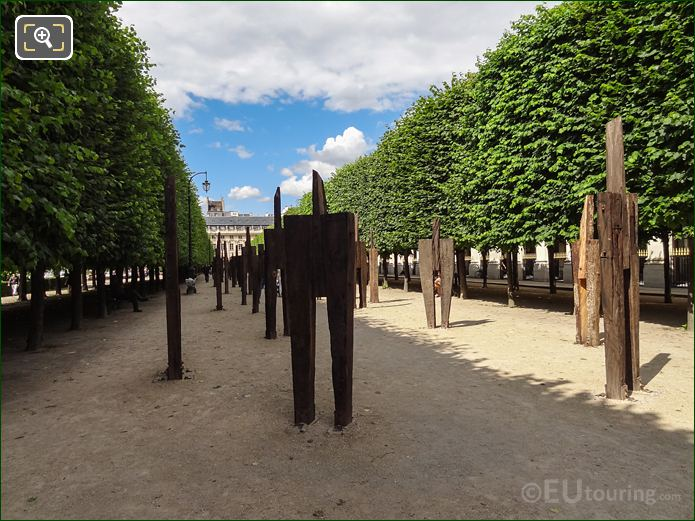 Row Of L'Homme Debout Wooden Exhibition Within Palais Royal Gardens