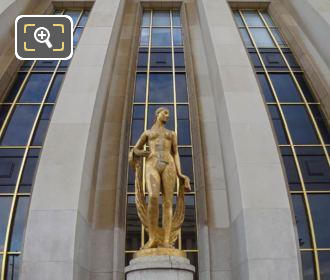 Panoramic Of Golden Flore Statue Palais De Chaillot
