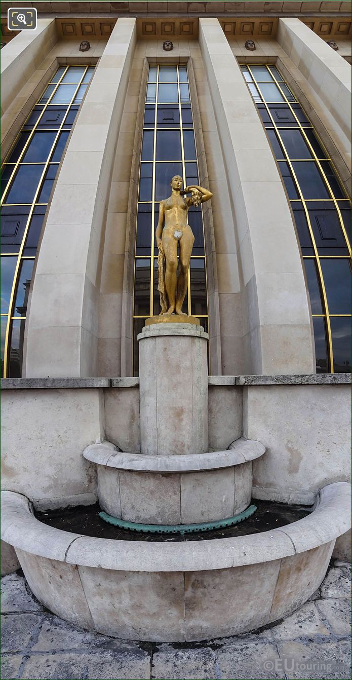 Panoramic Of Golden Le Matin Statue Palais De Chaillot