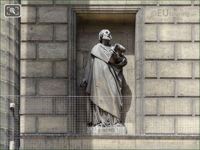 Saint Irenee Statue On Eglise De La Madeleine