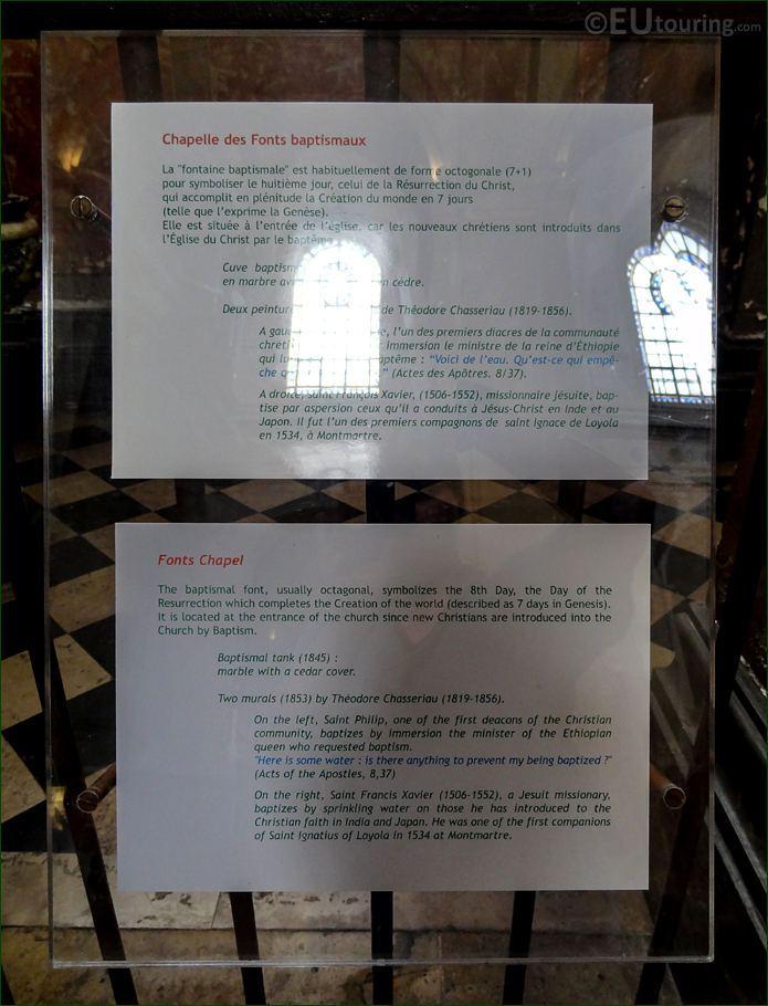 Tourist Information Board For La Fontaine Baptismale In Eglise Saint-Roch