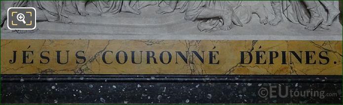 Jesus Couronne d'Epines Inscription On Sculpture Frame