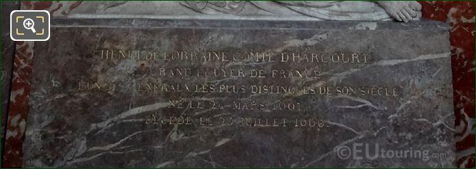 Gilded Inscription On Monument Du Henri De Lorraine Pedestal