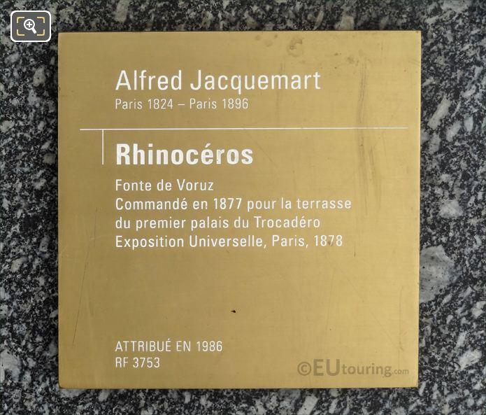 Tourist Information Plaque On Rhinoceros Statue