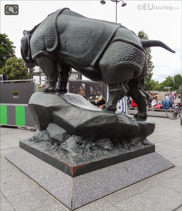 Back And Left Hand Side Of Rhinoceros Statue