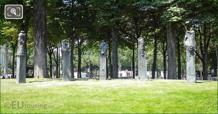Jean Moulin Monument Five Statues In Jardin Des Champs Elysees