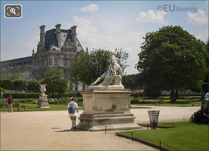 View Showing Back Of Alexandre Combattant Statue