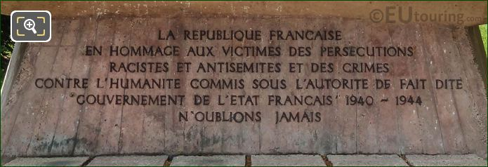 Inscription On Jewish Monument In Paris