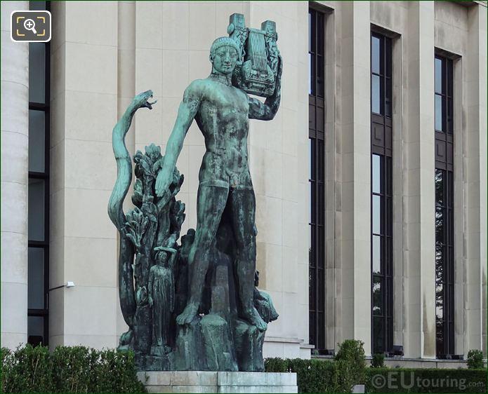 Bronze Apollon Musagete Statue Inside Jardins Du Trocadero