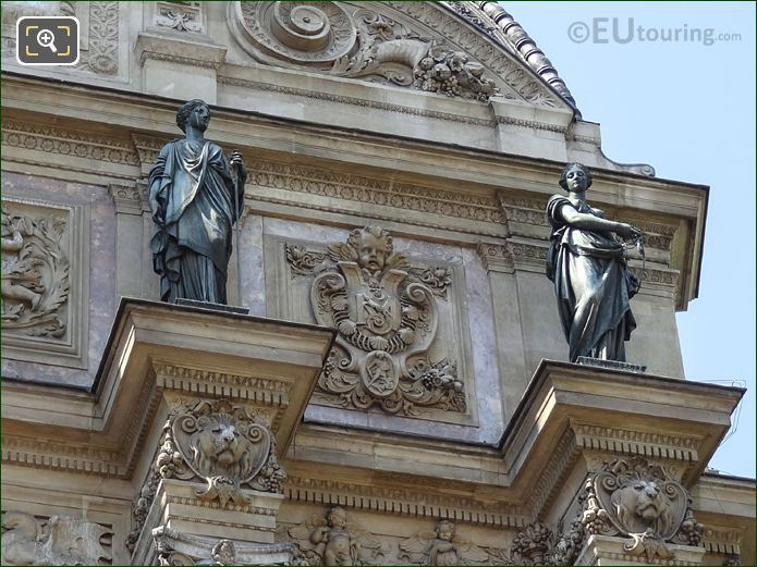 Justice And Temperance Statues On Fontaine Saint-Michel