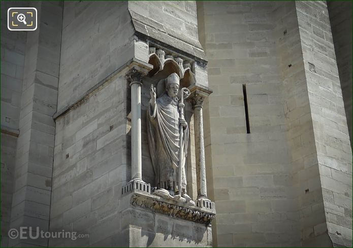 Notre Dames Bishop Sculpture On South Bell Tower