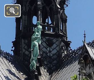 Apostle Statues Around Spire Notre Dame Cathedral