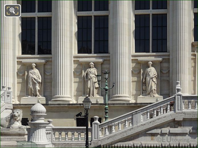 Palais De Justice Facade With La Force Statue