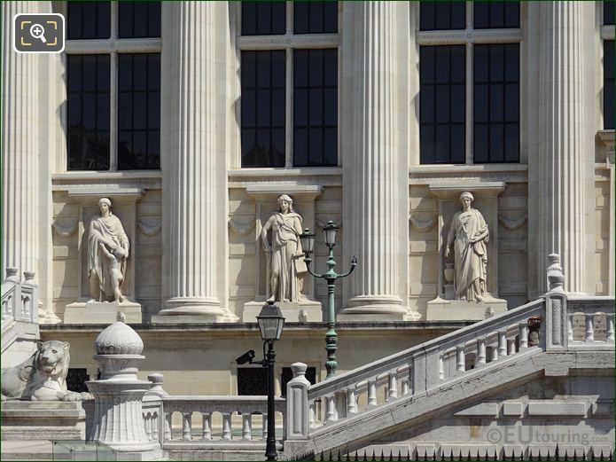 Palais De Justice Facade With La Force Statue