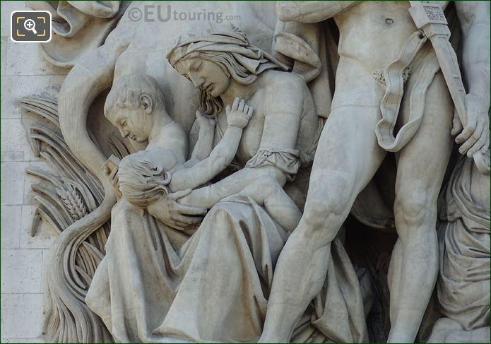 Woman And Child Statues Within La Paix De 1815 Sculpture