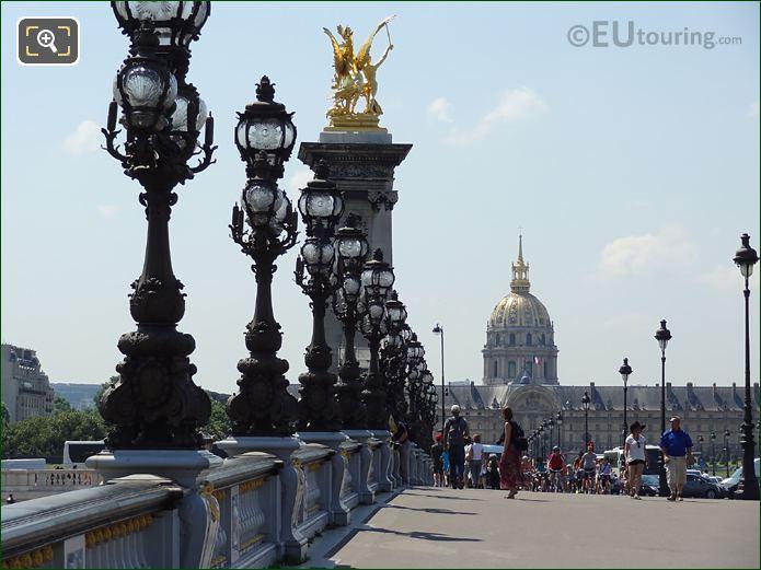 View Over Alexandre III Bridge With Golden Statue