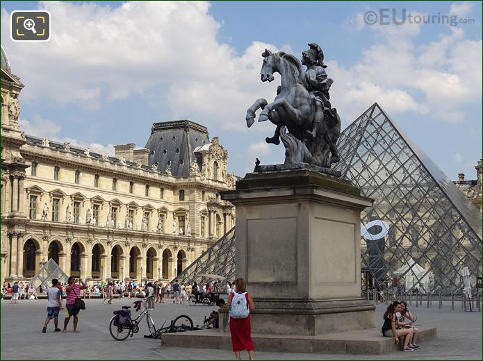 King Louis XIV Equestrian Statue With Louvre Pyramid 2013