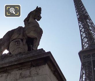 Gallic Warrior Statue With The Eiffel Tower