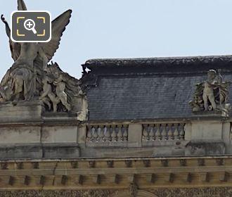 Top North Facade Of Pavillon Des Etats With Victoire Statue