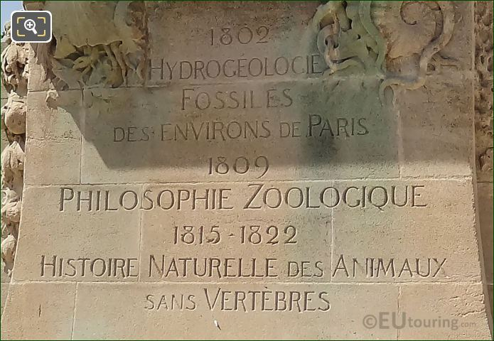 Inscription On Jean Baptiste Lamarck Statue