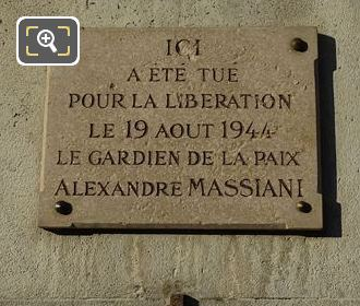 Alexandre Massiani Memorial Plaque
