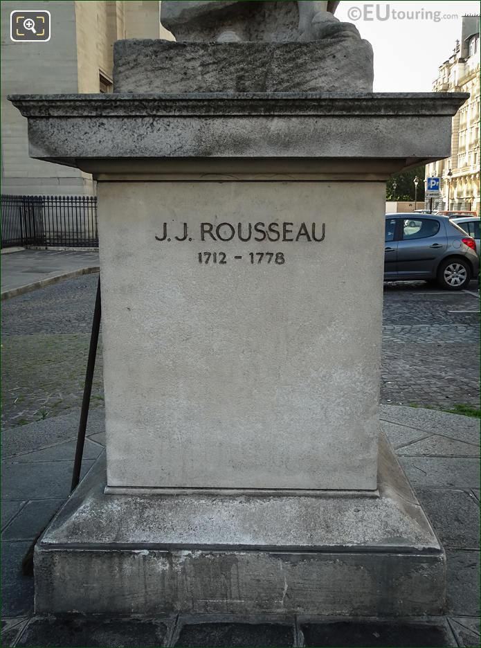 Stone Base Inscription J J Rousseau 1712 - 1778