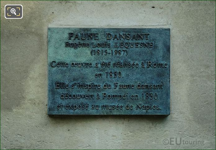 Plaque On The Faune Dansant Statue Paris