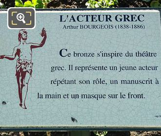 L Acteur Grec Information Plaque