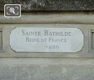 Plaque On The Base Of Sainte Bathilde Statue