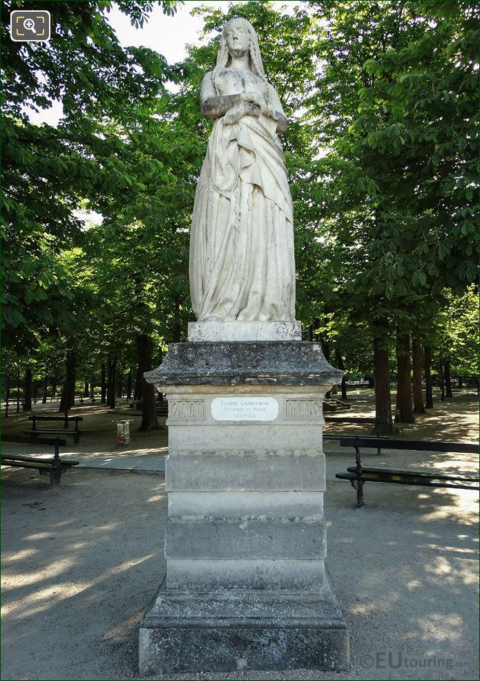 Sainte Genevieve Statue In Jardin Du Luxembourg