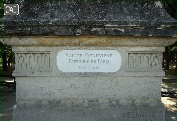 Information Plaque On Sainte Genevieve Statue