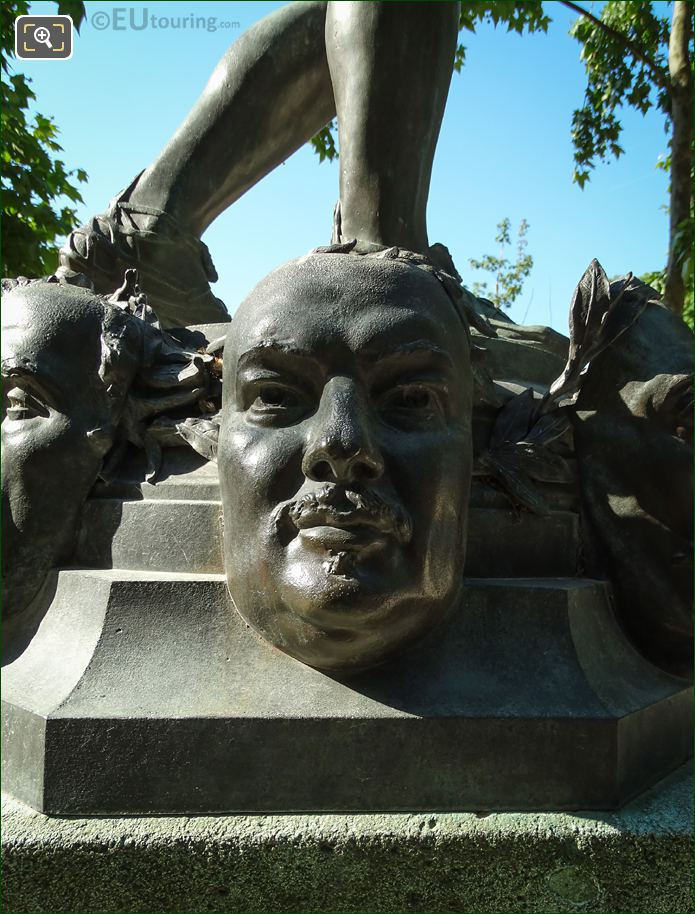 Honore De Balzac Mask On Statue