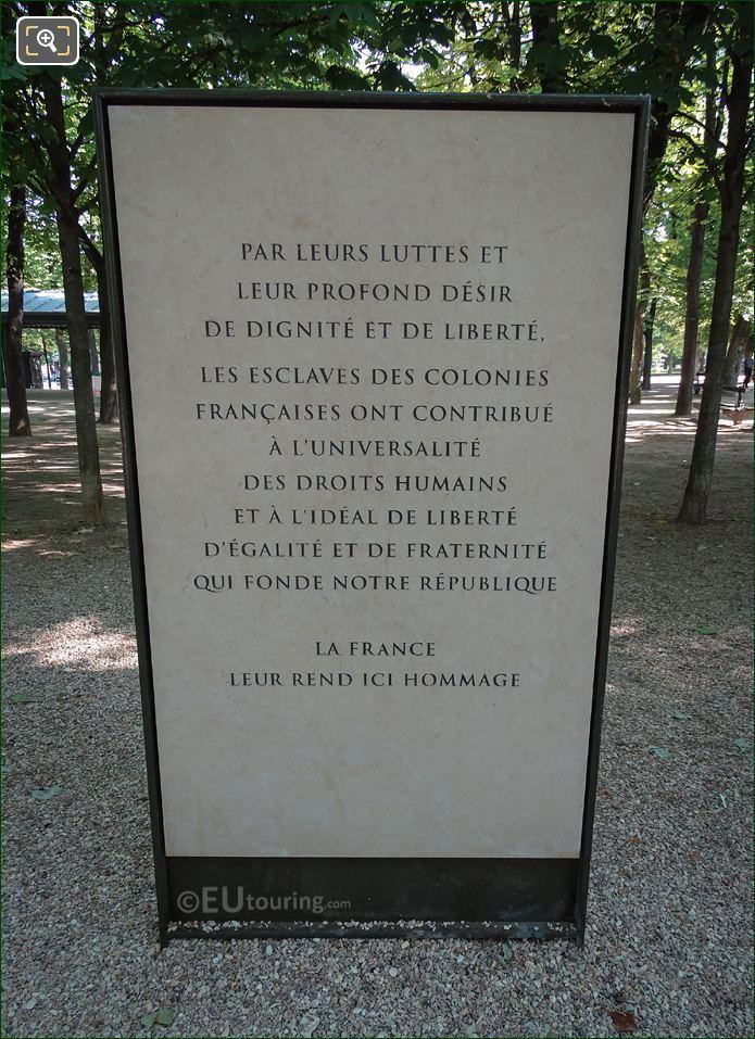 Hommage Aux Esclaves Des Colonies Francaises Monument