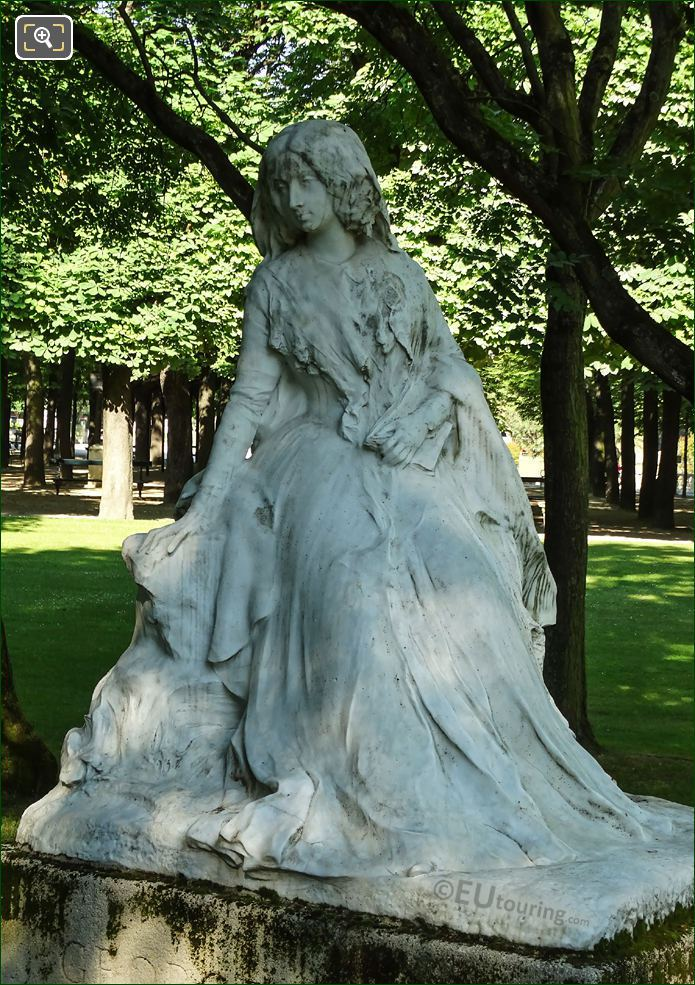 Marble Statue Of George Sand In Paris