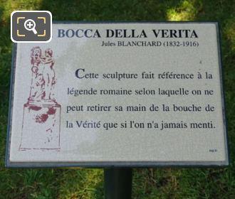 Plaque For La Bocca Della Verita Statue
