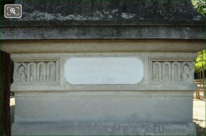Plaque On Anne M L d Orleans Statue