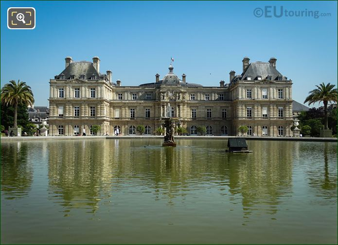 Grand Bassin Statues With Palais Du Luxembourg