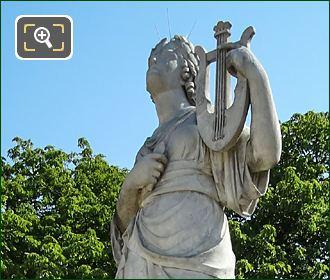 Goddesses Of Music Calliope Statue And Stone Pedestal