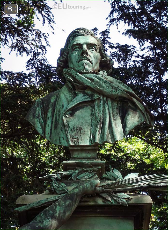 Bronze Bust Eugene Delacroix By Aime Jules Dalou