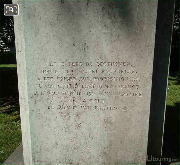 Inscription On Ludvig Van Beethoven Monument